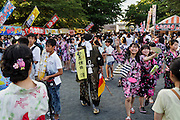 Soma, Fukushima prefecture, July 25 2015 - Summer festival during Nomaoi, where one can meet samurai and young residents.<br /> The Soma nomaoi is said to be a 1000-year-old traditional festival. It was held in 2011, a few months after the nuclear disaster, but only a few local horses were available.