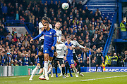 Derby County midfielder Tom Huddlestone (44) climbs above Chelsea midfielder Ruben Loftus-Cheek (12) during the EFL Cup 4th round match between Chelsea and Derby County at Stamford Bridge, London, England on 31 October 2018.