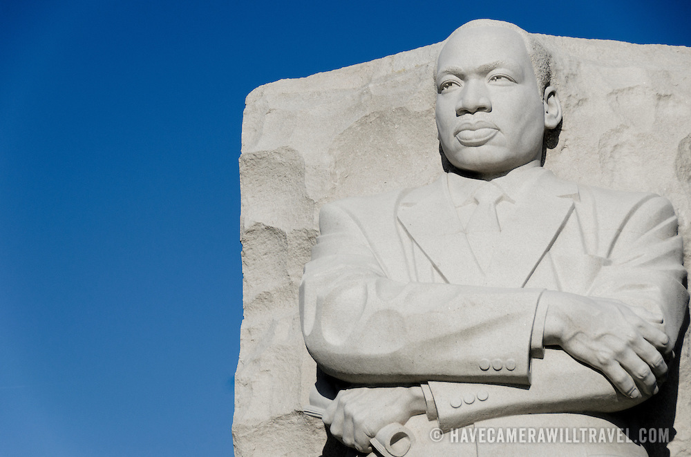 "The ""Stone of Hope"" statue by sculpture Lei Yixin. Situated in West Potomac Park fronting the Tidal Basin (opposite the Jefferson Memorial), the MLK Memorial was opened in 2011."