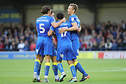 AFC Wimbledon defender Paul Robinson (6) celebrating after scoring goal to make it 1-0 during the EFL Cup match between AFC Wimbledon and Brentford at the Cherry Red Records Stadium, Kingston, England on 8 August 2017. Photo by Matthew Redman.