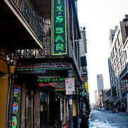 Felix's Bar, located on Bourbon St. in the French Quarter in New Orleans, LA is quiet at 8am on a Sunday.
