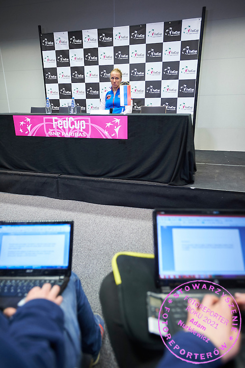 Svetlana Kuznetsova from Russia while her press coference during First Day of the Fed Cup / World Group 1st round tennis match between Poland and Russia at Tauron Krakow Arena on February 7, 2015 in Cracow, Poland.<br /> <br /> Poland, Cracow, February 7, 2015<br /> <br /> Picture also available in RAW (NEF) or TIFF format on special request.<br /> <br /> For editorial use only. Any commercial or promotional use requires permission.<br /> <br /> Adam Nurkiewicz declares that he has no rights to the image of people at the photographs of his authorship.<br /> <br /> Mandatory credit:<br /> Photo by &copy; Adam Nurkiewicz / Mediasport