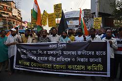 November 3, 2018 - Kolkata, WEST BENGAL, India - National Congress Supporters burnt effigy of Assam Chief Minister Sarbananda Sonowal on the issue of Tinsukia Massacre of Assam. (Credit Image: © Avishek Das/Pacific Press via ZUMA Wire)
