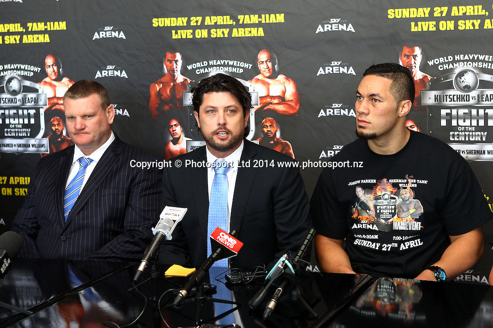 (L to R) Duco Event Dean Lonergan, MC Craig Stanaway and Joseph Parker. Joseph Parker and Sherman 'the tank' Williams attend a press conference ahead of their ight on the Klitschko v Leapai world title undercard, Northern Steamship, Auckalnd. 1 April 2014. Photo: William Booth/www.photosport.co.nz