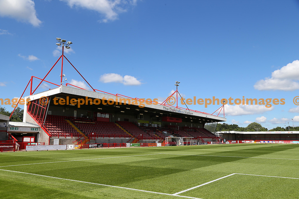 General view of the Checkatrade Stadium in Crawley. August 6, 2016.<br /> James Boardman / Telephoto Images<br /> +44 7967 642437