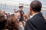 24.MAY.2012. DES MOINES<br /> <br /> PRESIDENT BARACK OBAMA GREETS PEOPLE UPON ARRIVAL AT DES MOINES INTERNATIONAL AIRPORT IN DES MOINES, IOWA, MAY 24, 2012.  <br /> <br /> BYLINE: EDBIMAGEARCHIVE.CO.UK<br /> <br /> *THIS IMAGE IS STRICTLY FOR UK NEWSPAPERS AND MAGAZINES ONLY*<br /> *FOR WORLD WIDE SALES AND WEB USE PLEASE CONTACT EDBIMAGEARCHIVE - 0208 954 5968*