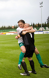 Miran Pavlin and goalkeeper of Olimpija Robert Volk celebrates after football match of 2nd SNL between NK Olimpija Ljubljana and NK Zagorje, on May 03, 2009, in ZAK stadium, Ljubljana, Slovenia. Olimpija won 9:0 and 4 Rounds before the end won the 1st place in 2nd SNL. Next year they will play in First Slovenian League. (Photo by Vid Ponikvar / Sportida)