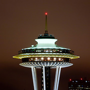 Space Needle at night, Seattle, Washington USA