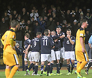 Kevin McBride is congratulated after scoring Dundee's second goal - Dundee v Dumbarton, SPFL Championship at Dens Park<br /> <br />  - &copy; David Young - www.davidyoungphoto.co.uk - email: davidyoungphoto@gmail.com
