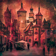 Painterly rendition of a collage of medieval watchtowers and street scenes of the city of Rothenburg in reddish and brown tones