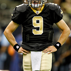 September 1, 2011; New Orleans, LA, USA; New Orleans Saints quarterback Drew Brees (9) during warm ups prior to a preseason game against the Tennessee Titans at the Louisiana Superdome. Mandatory Credit: Derick E. Hingle
