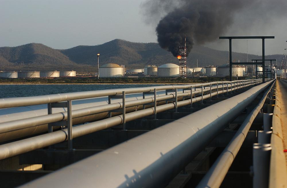 Crude oil storage tanks at the Jose complex