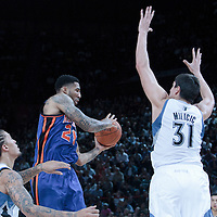 06 October 2010: New York Knicks forward Wilson Chandler #21 passes the ball Minnesota Timberwolves center Darko Milicic #31 during the Minnesota Timberwolves 106-100 victory over the New York Knicks, during 2010 NBA Europe Live, at the POPB Arena in Paris, France.