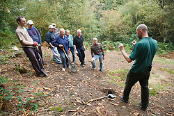 Ranger and volunteers at Bestwood Country Park, Nottingham, part of Sherwood Forest, beginning conservation project.
