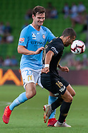 MELBOURNE, VIC - JANUARY 22: Western Sydney Wanderers forward Jaushua Sotirio (16) competes for the ball at the Hyundai A-League Round 15 soccer match between Melbourne City FC and Western Sydney Wanderers at AAMI Park in VIC, Australia 22 January 2019. Image by (Speed Media/Icon Sportswire)