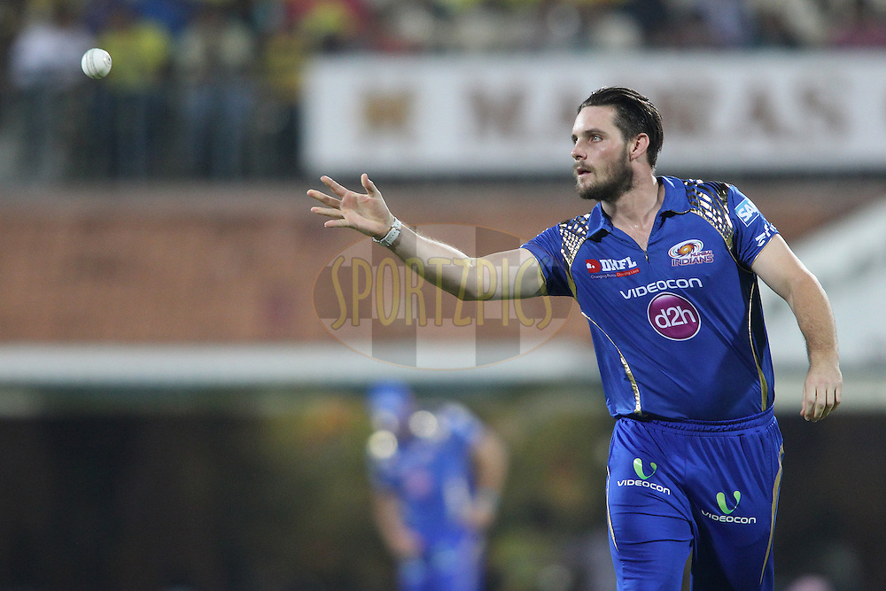 Mitchell McClenaghan of Mumbai Indians during match 43 of the Pepsi IPL 2015 (Indian Premier League) between The Chennai Super Kings and The Mumbai Indians held at the M. A. Chidambaram Stadium, Chennai Stadium in Chennai, India on the 8th May April 2015.<br /> <br /> Photo by:  Shaun Roy / SPORTZPICS / IPL
