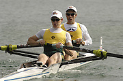 Munich, GERMANY, 2006, FISA, Rowing, World Cup, AUS LM2- , bow Tim Smith and Tim O'Callaghan , held on the Olympic Regatta Course, Munich, Thurs. 25.05.2006. © Peter Spurrier/Intersport-images.com,  / Mobile +44 [0] 7973 819 551 / email images@intersport-images.com.[Mandatory Credit Peter Spurrier/ Intersport Images][Mandatory Credit, Peter Spurier/ Intersport Images] Rowing Course, Olympic Regatta Rowing Course, Munich, GERMANY
