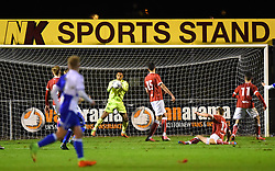 Jojo Wollacott of Bristol City stops a late effort from Bristol Rovers - Mandatory by-line: Paul Knight/JMP - 16/11/2017 - FOOTBALL - Woodspring Stadium - Weston-super-Mare, England - Bristol City U23 v Bristol Rovers U23 - Central League Cup