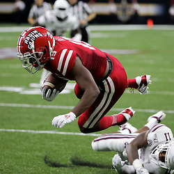 Aug 31, 2019; New Orleans, LA, USA; Louisiana-Lafayette Ragin Cajuns wide receiver Jamal Bell (19) is upended by Mississippi State Bulldogs safety Jaquarius Landrews (11) during the first half at the Mercedes-Benz Stadium. Mandatory Credit: Derick E. Hingle-USA TODAY Sports
