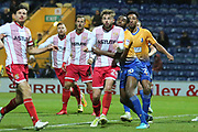 Hayden White of Mansfield Town (16) and Matthew Godden of Stevenage (24) during the EFL Sky Bet League 2 match between Mansfield Town and Stevenage at the One Call Stadium, Mansfield, England on 18 November 2017. Photo by Mick Haynes.