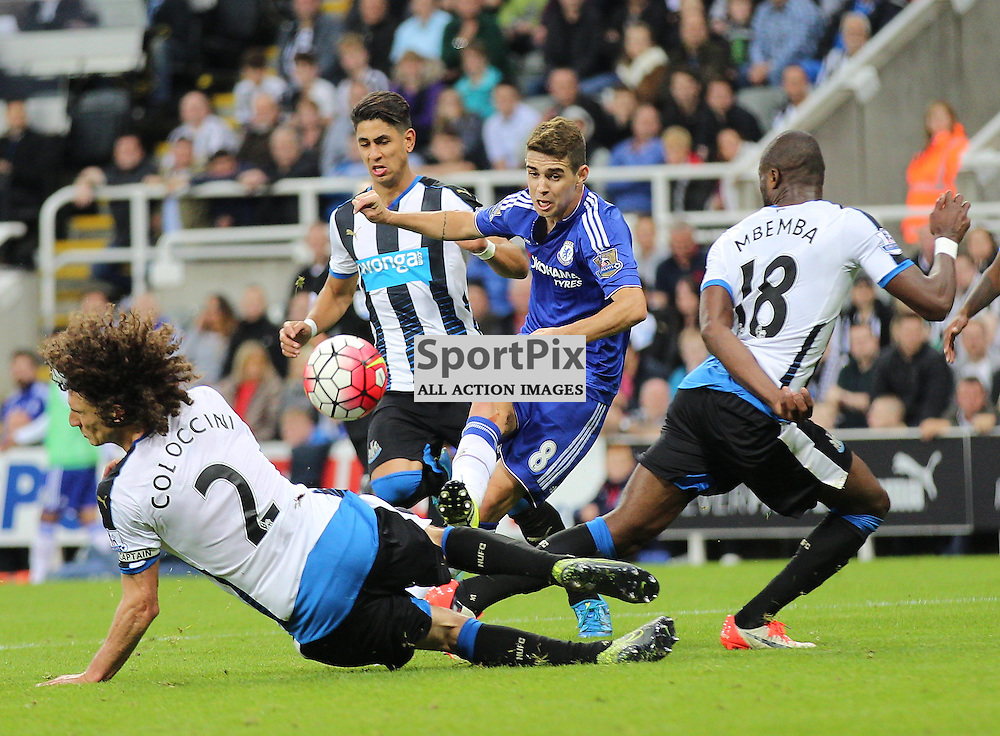 Newcastle United v Chelsea English Premiership 26 September 2015; Oscar (Chelsea, 8) curls in a shot during the Newcastle v Chelsea English Premiership match played at St. James' Park, Newcastle; <br /> <br /> &copy; Chris McCluskie | SportPix.org.uk
