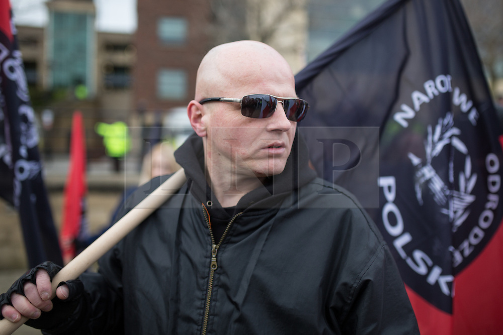 "© Licensed to London News Pictures . FILE PICTURE DATED 21/03/2015 of a "" White Man March "" demonstration organised by the Neo-Nazi group "" National Action "" as today (25th June 2015) National Action supporter Zack Davies has been convicted of the attempted murder of the attempted murder of Dr Sarandar Bhambra . Photo credit : Joel Goodman/LNP"