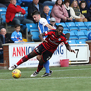 23rd September 2017, Rugby Park, Kilmarnock, Scotland; SPFL Premiership football, Kilmarnock versus Dundee; Dundee's Roarie Deacon is brought down by Kilmarnock's Greg Taylor
