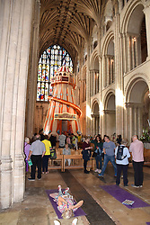 Seeing It Differently - helter skelter installed inside Norwich Cathedral, UK August 2019. Part of the festival included mats on the floor so people could admire the roof