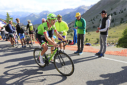Nathan Brown (USA) Cannondale Drapac climbs Col d'Izoard during Stage 18 of the 104th edition of the Tour de France 2017, running 179.5km from Briancon to the summit of Col d'Izoard, France. 20th July 2017.<br /> Picture: Eoin Clarke | Cyclefile<br /> <br /> All photos usage must carry mandatory copyright credit (© Cyclefile | Eoin Clarke)