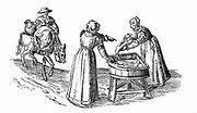Fish stall in a market; Woman guts a fish while her companion drums up custom. Third woman rides into market with goods for sale. From Braun 'Civitates Orbis Terrarum' 1572. Engraving