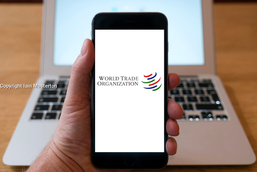 World Trade Organisation home page on iPhone smart phone mobile phone