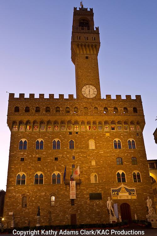 Palazzo Vecchio in Piazza della Signoria, in Florence, Firenze, Italy.