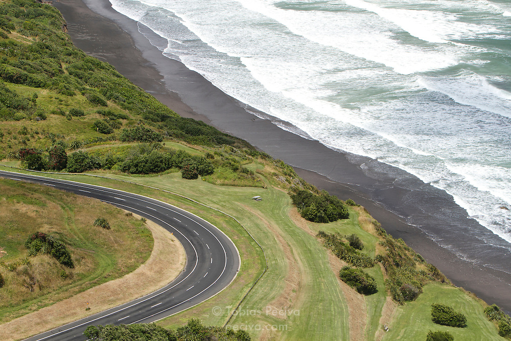 View of Centennial Drive and the Tasman Sea, west of New Plymouth, New Zealand.