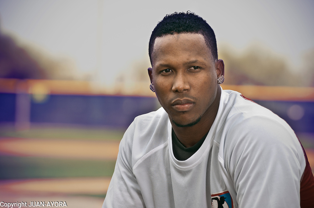 Pedro &Aacute;ngel Strop (born June 13, 1985, in San Crist&oacute;bal, Dominican Republic) is a Major League Baseball relief pitcher for the Texas Rangers.<br /> Strop was originally signed as an international free agent by the Colorado Rockies in 2002. Strop was signed by the Texas Rangers as a free agent about September 23, 2008. On August 28, 2009 Pedro made his MLB debut and K'd his 1st MLB batter, the Twins star catcher Joe Mauer.<br /> Photographed in Surprise, Arizona by Juan Ayora.<br /> www.ayora-photography.photoshelter.com/