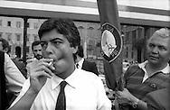 Roma Giugno 1985.Manifestazione per i Referendum sul costo del lavoro.Claudio Martelli (Partito Socialista Italiano).