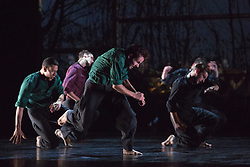 © Licensed to London News Pictures. 05/10/2015. London, UK. BalletBoyz return to Sadler's Wells with their programme Young Men, a portrayal of love, loss and survival set against the backdrop of war. Produced by BalletBoyz artistic directors Michael Nunn and William Trevitt, Young Men is choregraphed by Ivan Perez and features an original score by Keaton Henson. Photo credit: Bettina Strenske/LNP