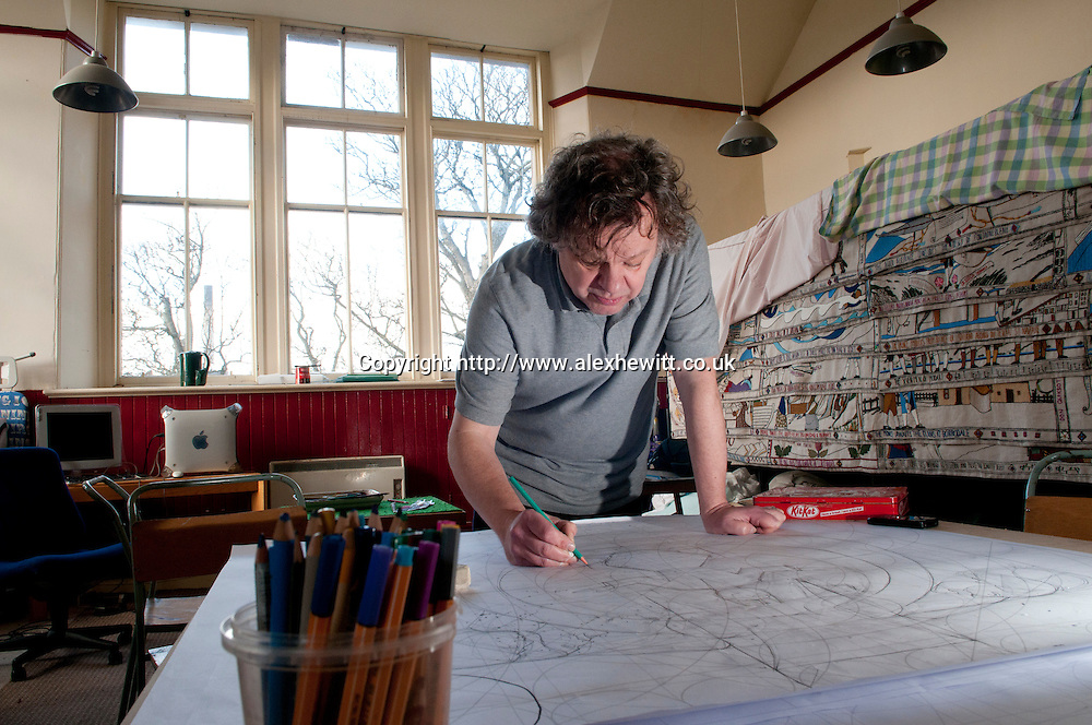 Andrew Crummey, artist and illustrator for the Great Tapestry of Scotland project. Photographed at his studio in Cockenzie nr Edinburgh..pic Alex Hewitt.alex.hewitt@gmail.com.07789 871540