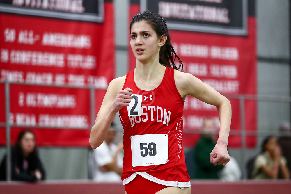 womens 3000 meters, BU, Batsu, Corinne<br /> Boston University Scarlet and White<br /> Indoor Track & Field, Bruce LeHane