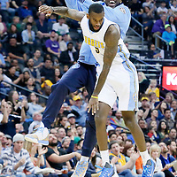 08 April 2016: Denver Nuggets forward Kenneth Faried (35) celebrates with Denver Nuggets forward Will Barton (5) during the Denver Nuggets 102-98 victory over the San Antonio Spurs, at the Pepsi Center, Denver, Colorado, USA.