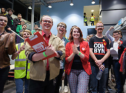 © Licensed to London News Pictures.  09/06/2017; Bristol, UK. General Election 2017; Labour supporters cheer at City of Bristol Academy, as election news comes in from around the UK. Picture credit : Simon Chapman/LNP