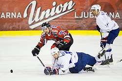 Teddy Da Costa and Vincent Bachet of France vs Manuel Latusa  of Austria during ice-hockey match between Austria and France in Slovenia Euro ice hockey challenge, on November 8, 2011 at Hala Tivoli, Ljubljana, Slovenia. (Photo By Matic Klansek Velej / Sportida)