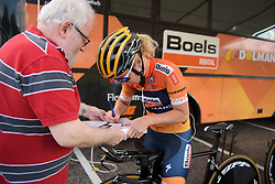 Amy Pieters appeases the autograph hunters at Boels Rental Ladies Tour Stage 3 a 16.9 km individual time trial in Roosendaal, Netherlands on August 31, 2017. (Photo by Sean Robinson/Velofocus)