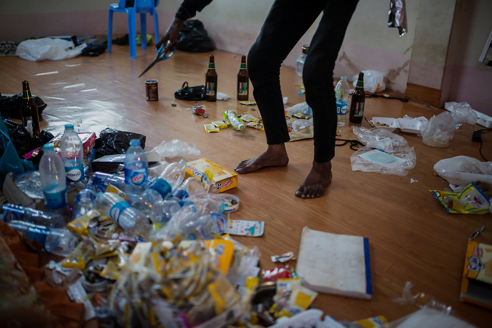 20170301 Yangon<br /> A man addicted to both heroin and meth starting to prepare his afternoon fix in his home in Yangon, Myanmar.<br /> Photo: Vilhelm Stokstad / Kontinent