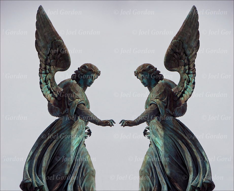 The bronze, eight-foot statue depicts a female winged angel touching down upon the top of the fountain, where water spouts and cascades into an upper basin and into the surrounding pool.  It is also called the Angel of the Waters. Central Park, NYC