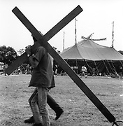 Cross bearer, at Glastonbury, 1989.
