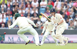 England's Dominic Bess hits out from the bowling of Pakistan's Mohammad Amir during day two of the Second Natwest Test match at Headingley, Leeds.