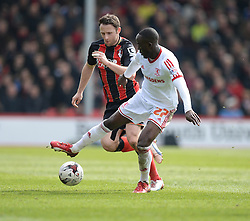 Bournemouth's Marc Pugh battles for the ball with Middlesbrough's Albert Adomah - Photo mandatory by-line: Alex James/JMP - Mobile: 07966 386802 - 21/03/2015 - SPORT - Football - Bouremouth - Goldsands Stadium - Bournemouth v Middlesbrough - Sky Bet Championship