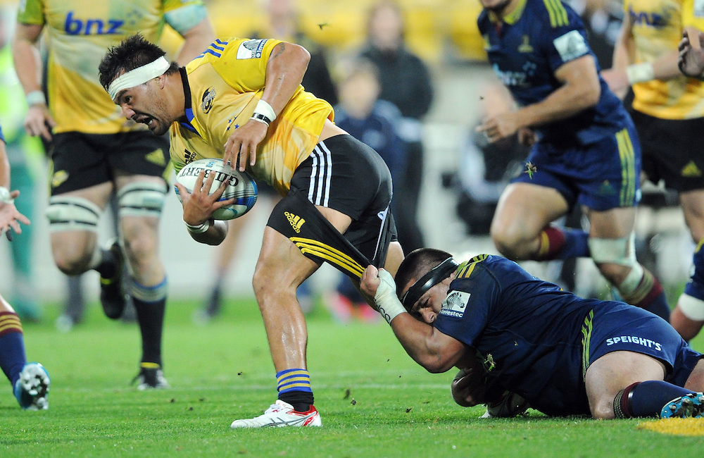 Hurricanes' Ash Dixon almost loses his trosers in a Highlanders tackle in the Super Rugby match at Westpac Stadium, Wellington, New Zealand, Friday, May 16, 2014. Credit:SNPA / Ross Setford
