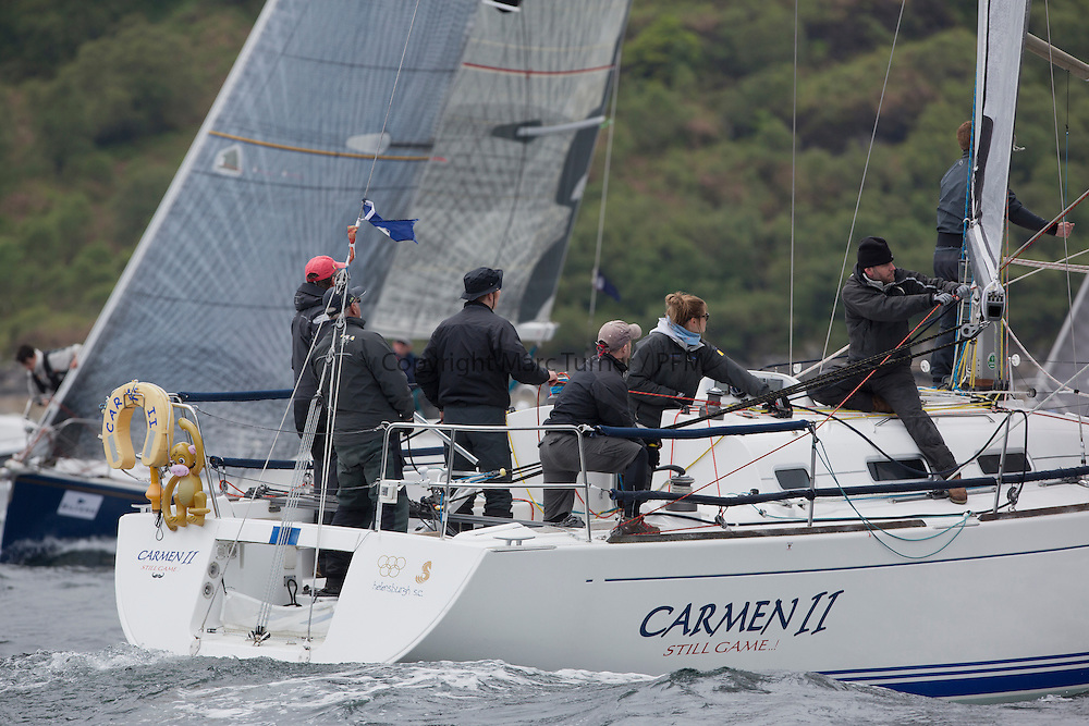 Day one of the Silvers Marine Scottish Series 2016, the largest sailing event in Scotland organised by the  Clyde Cruising Club<br /> Racing on Loch Fyne from 27th-30th May 2016<br /> IRL1666, Carmen II, Jeffrey/Scutt, CCC/HSC, First 36.7<br /> <br /> <br /> Credit : Marc Turner / CCC<br /> For further information contact<br /> Iain Hurrel<br /> Mobile : 07766 116451<br /> Email : info@marine.blast.com<br /> <br /> For a full list of Silvers Marine Scottish Series sponsors visit http://www.clyde.org/scottish-series/sponsors/