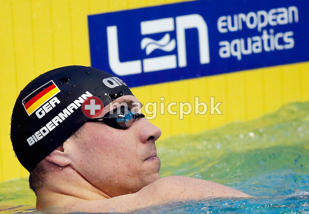 Paul BIEDERMANN of Germany looks back after competing in the men's 400m Freestyle Heats during the 18th LEN European Short Course Swimming Championships held at the Wingate Institute in Netanya, Israel, Wednesday, Dec. 2, 2015. (Photo by Patrick B. Kraemer / MAGICPBK)